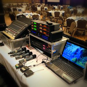 AV Equipment on Tech Bench for operator